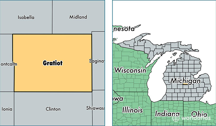 location of Gratiot county on a map