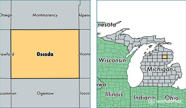 location of Oscoda county on a map