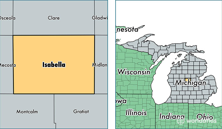 location of Isabella county on a map