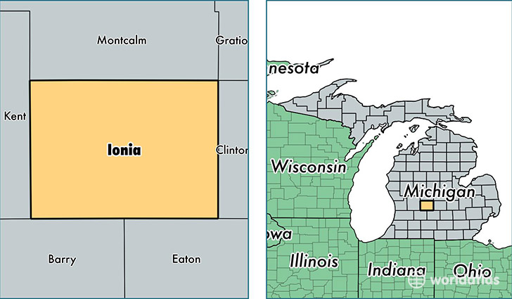 location of Ionia county on a map