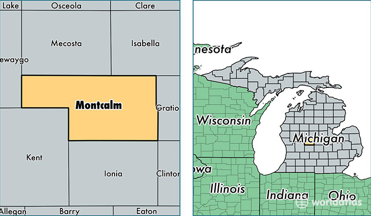 location of Montcalm county on a map