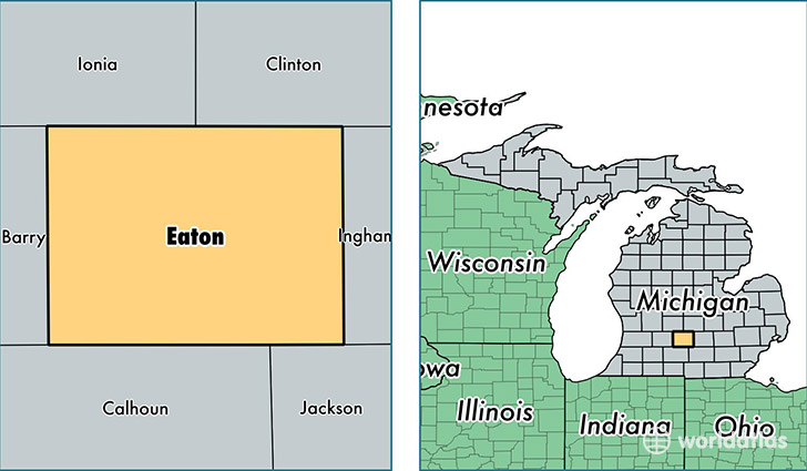 location of Eaton county on a map