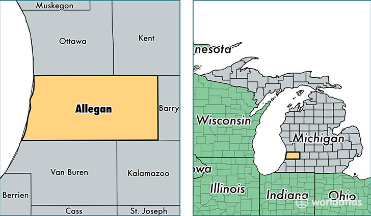 location of Allegan county on a map