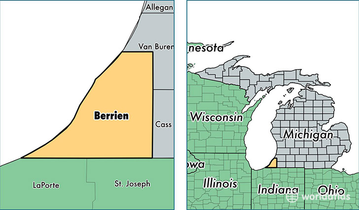 location of Berrien county on a map