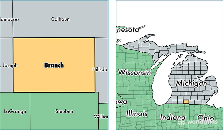 location of Branch county on a map