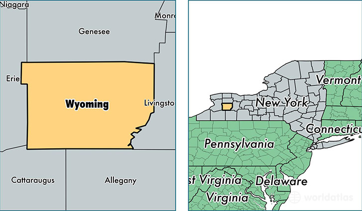 location of Wyoming county on a map