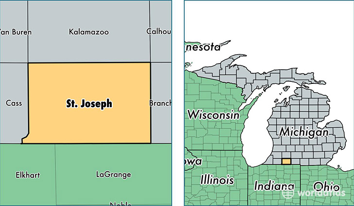 location of Saint Joseph county on a map