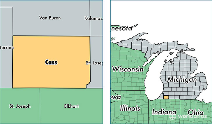 location of Cass county on a map
