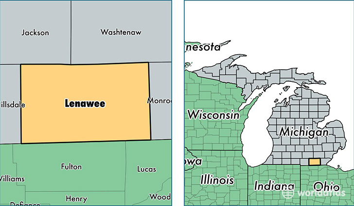 location of Lenawee county on a map