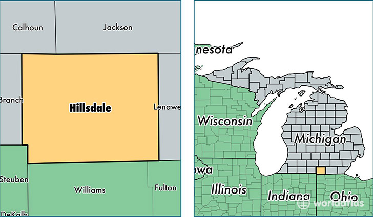 location of Hillsdale county on a map