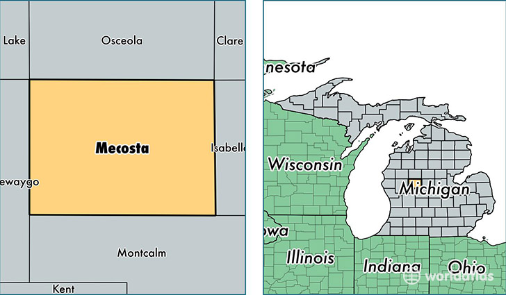 location of Mecosta county on a map