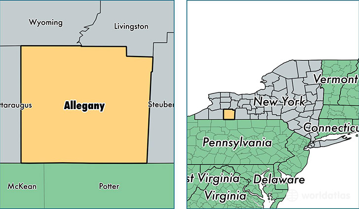 location of Allegany county on a map