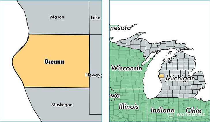 location of Oceana county on a map