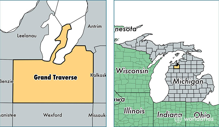 location of Grand Traverse county on a map