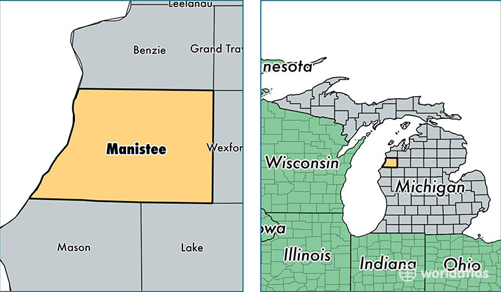 location of Manistee county on a map