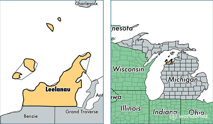location of Leelanau county on a map