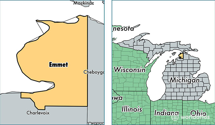 location of Emmet county on a map