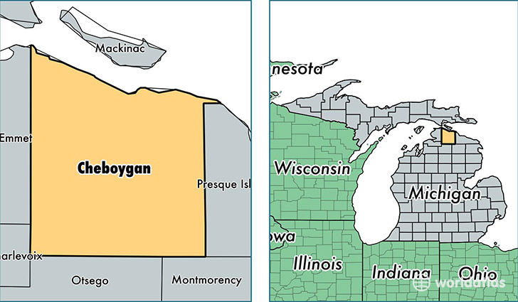 location of Cheboygan county on a map