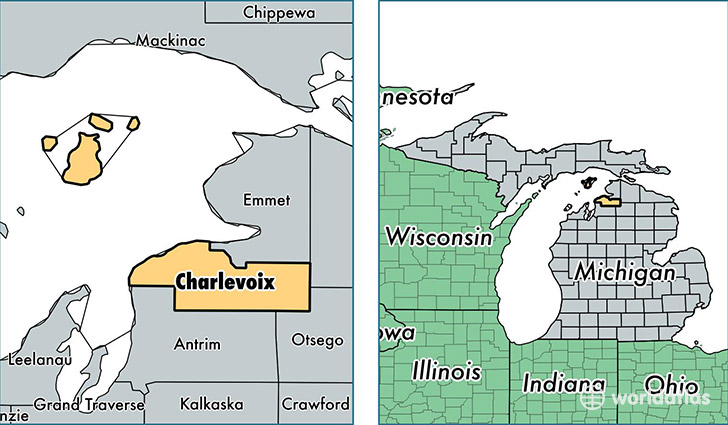 location of Charlevoix county on a map