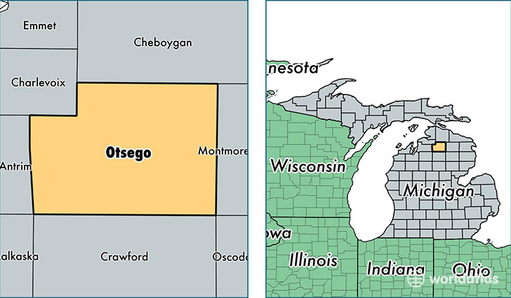 location of Otsego county on a map