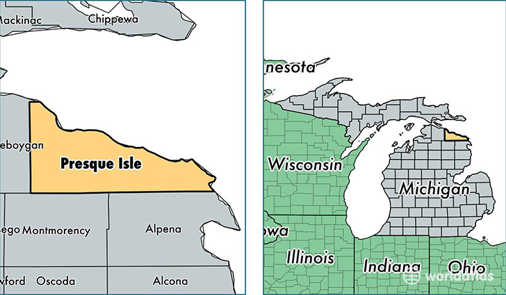 location of Presque Isle county on a map