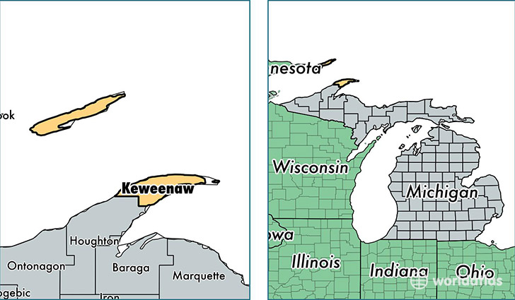 location of Keweenaw county on a map