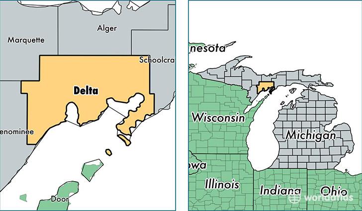 Delta County Michigan  Map of Delta County MI  Where is Delta