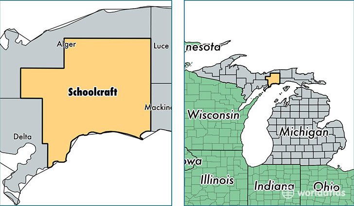 location of Schoolcraft county on a map