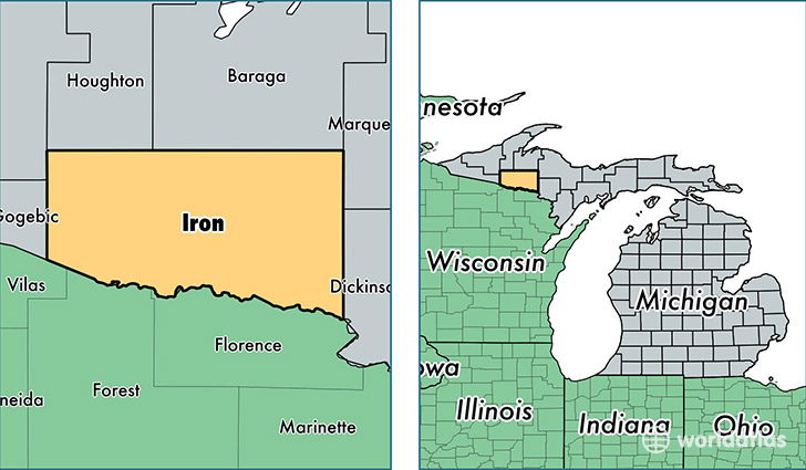 location of Iron county on a map