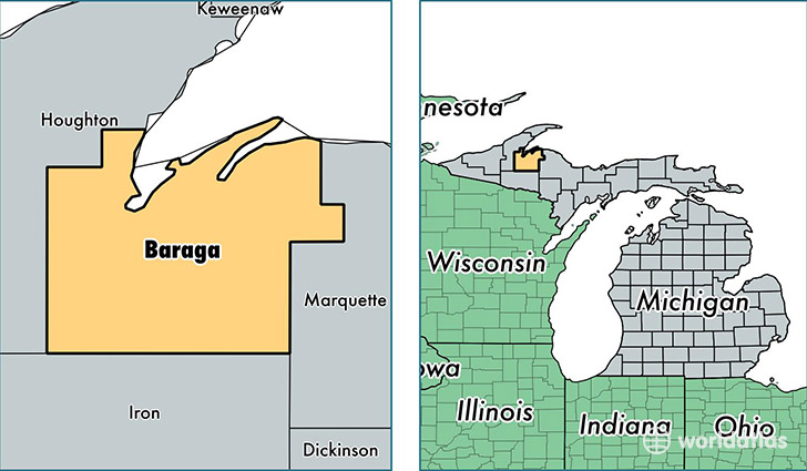 location of Baraga county on a map