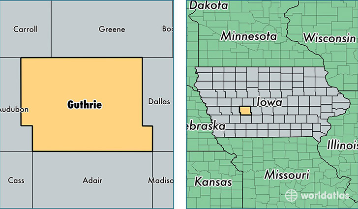 location of Guthrie county on a map