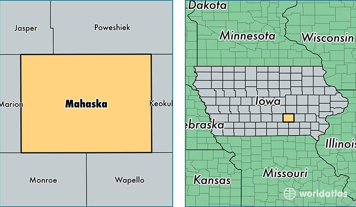 location of Mahaska county on a map