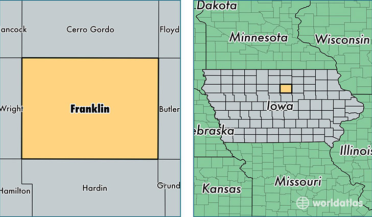 location of Franklin county on a map