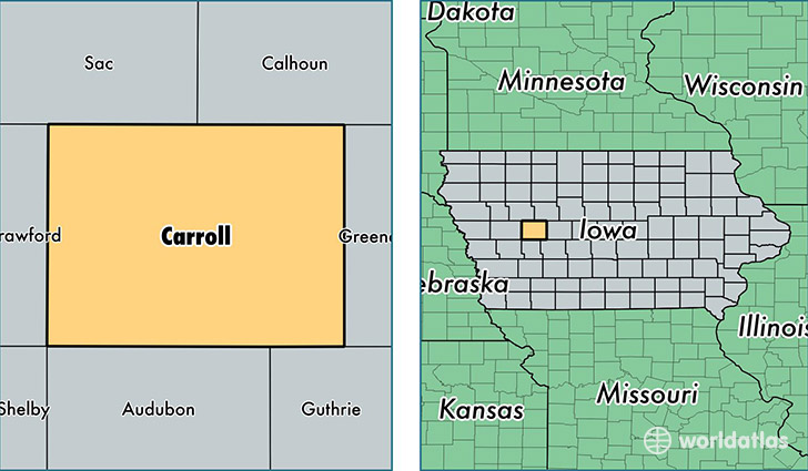 Carroll County Iowa Map Of Carroll County Ia Where Is Carroll