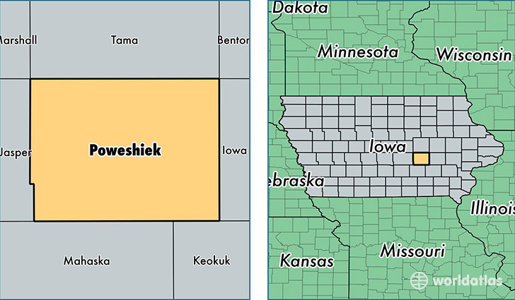 location of Poweshiek county on a map