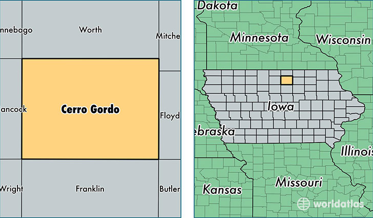 location of Cerro Gordo county on a map
