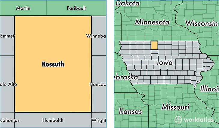 location of Kossuth county on a map