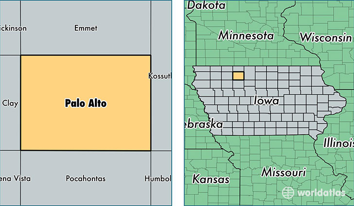 location of Palo Alto county on a map