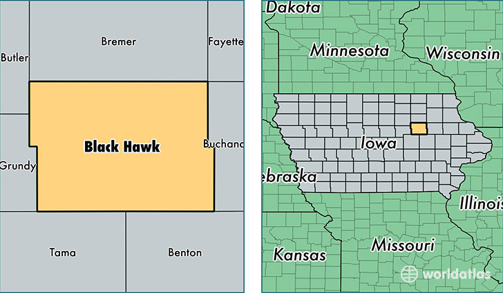 location of Black Hawk county on a map