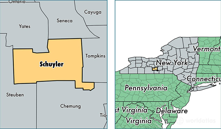 location of Schuyler county on a map