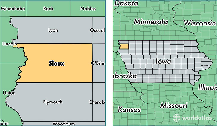 location of Sioux county on a map