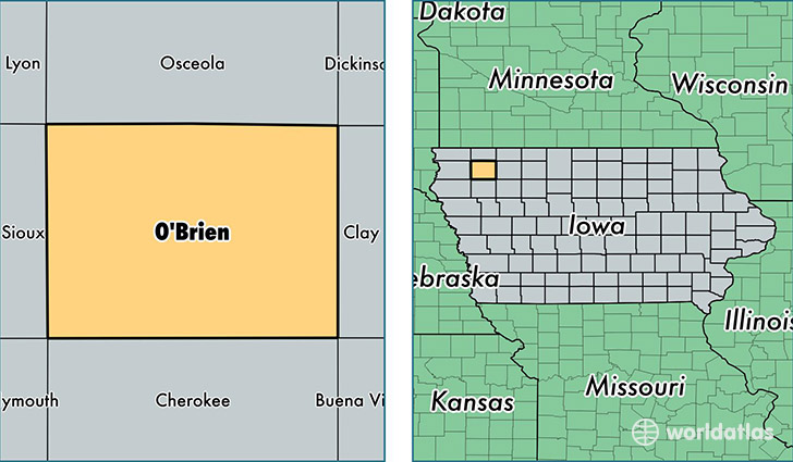 location of Obrien county on a map