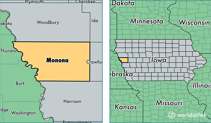 location of Monona county on a map