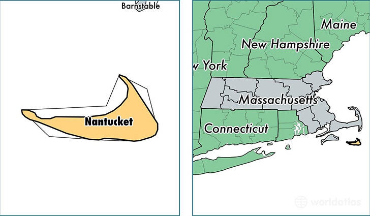 location of Nantucket county on a map