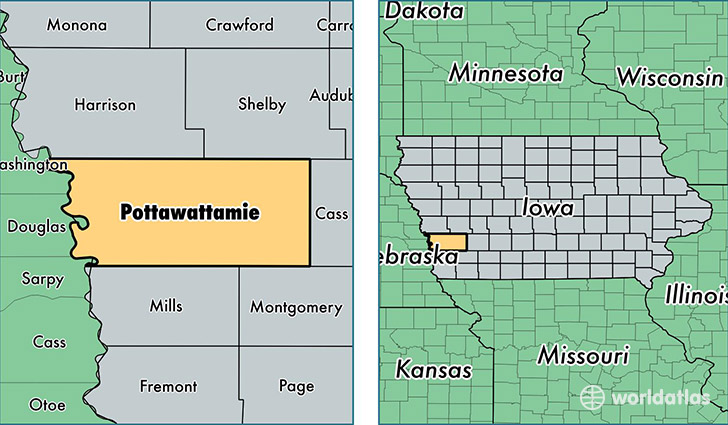 location of Pottawattamie county on a map
