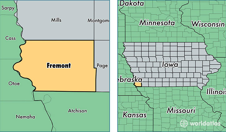 location of Fremont county on a map
