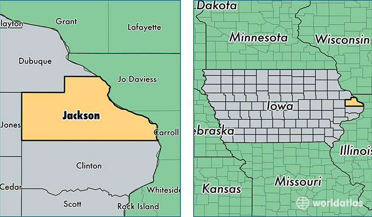 Jackson County Iowa Map.Jackson County Iowa Map Of Jackson County Ia Where Is Jackson