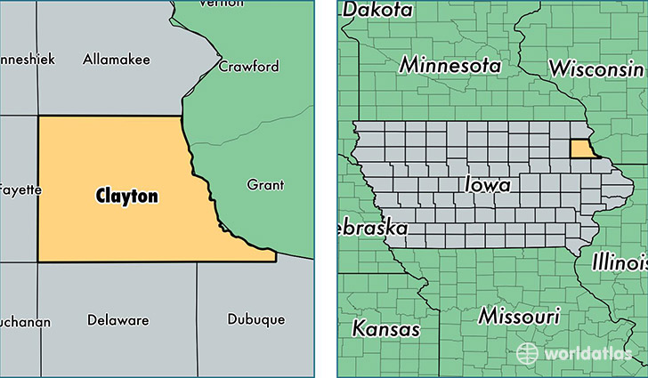 Clayton County Iowa Map Of Clayton County Ia Where Is Clayton