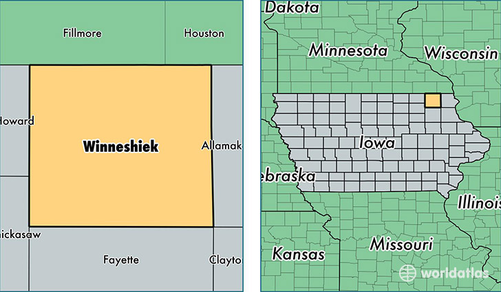 location of Winneshiek county on a map