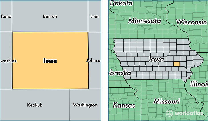 location of Iowa county on a map